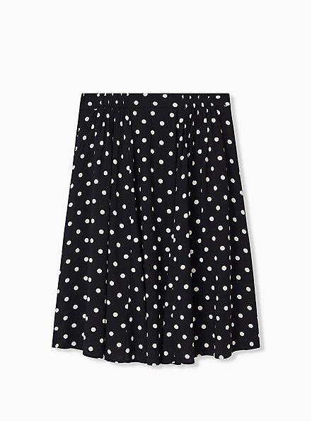 Black & White Polka Dot Challis Button Midi Skirt , DOTS - BLACK, alternate