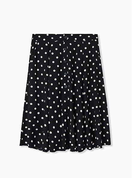 Black & White Polka Dot Challis Button Midi Skirt , DOTS - BLACK, hi-res