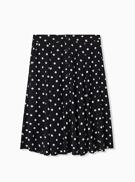 Black & White Polka Dot Challis Button Midi Skirt , DOTS - BLACK, hi-res