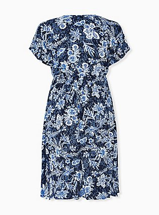 Plus Size Navy Floral Crinkled Gauze Hi-Lo Kaftan , FLORAL, alternate