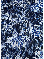 Navy Floral Crinkled Gauze Hi-Lo Kaftan , FLORAL, alternate