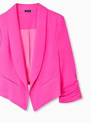 Neon Pink Open Front Crepe Blazer , PINK GLO, alternate