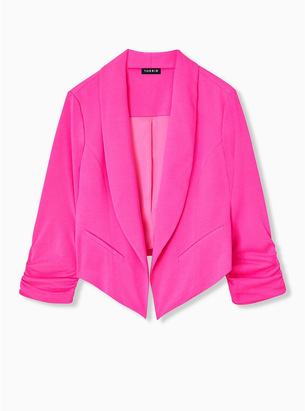Plus Size Neon Pink Crepe Cutaway Blazer , PINK GLO, hi-res