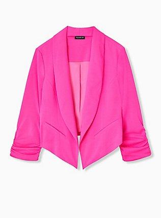 Neon Pink Open Front Crepe Blazer , PINK GLO, hi-res