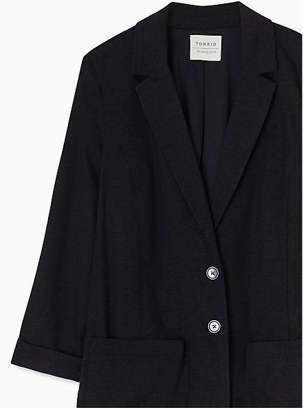 Black Linen Blazer, DEEP BLACK, alternate