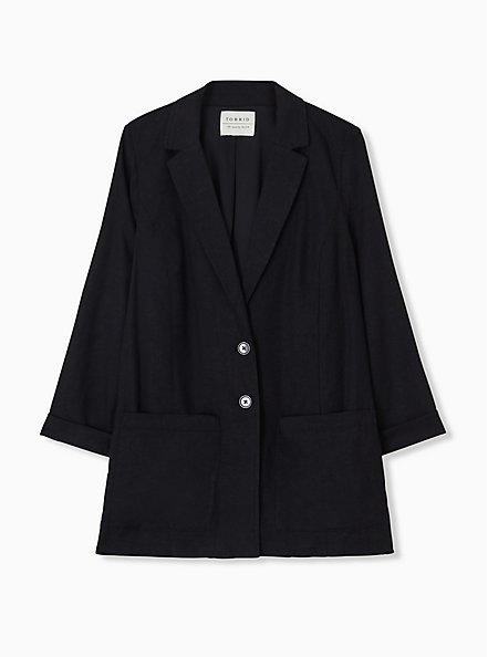 Black Linen Blazer, DEEP BLACK, hi-res