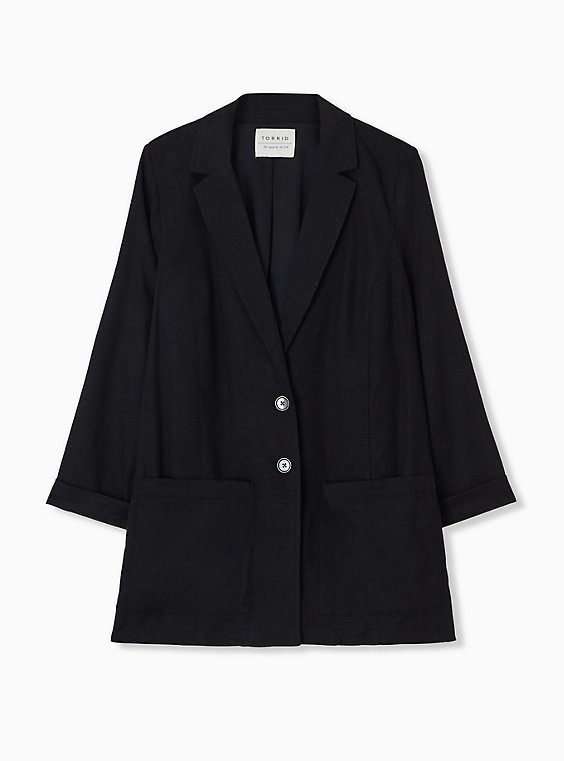 Plus Size Black Linen Blazer, , hi-res