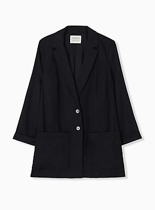 Black Linen Blazer, DEEP BLACK, hi-res