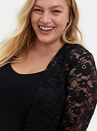 Black Lace Fit & Flare Kimono, DEEP BLACK, alternate