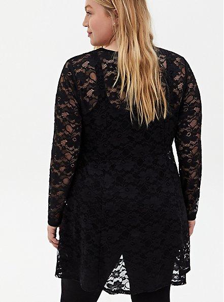 Black Lace Fit & Flare Kimono, DEEP BLACK, alternate