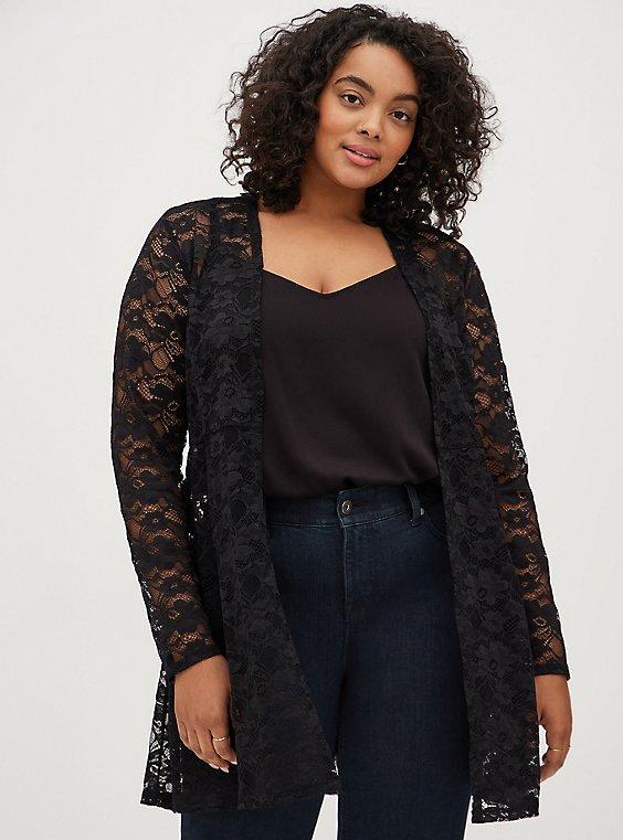 Black Lace Fit & Flare Kimono, DEEP BLACK, hi-res