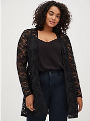Black Lace Fit & Flare Kimono, DEEP BLACK, hi-res