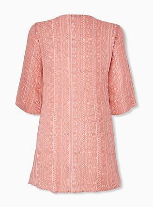 Plus Size Coral Geo Line Crinkled Gauze Hi-Lo Kimono, DESERT SAND, alternate