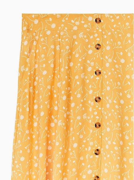 Mustard Yellow Floral Challis Button Midi Skirt , FLORALS-YELLOW, alternate