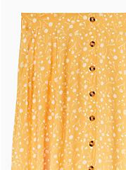 Plus Size Mustard Yellow Floral Challis Button Midi Skirt , FLORALS-YELLOW, alternate
