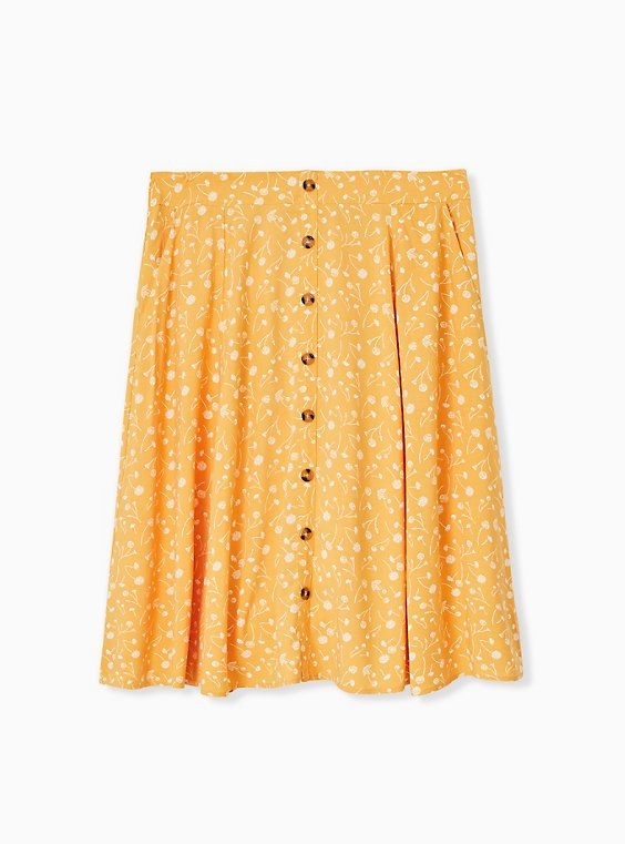 Mustard Yellow Floral Challis Button Midi Skirt , , hi-res