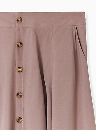 Dark Taupe Challis Button Midi Skirt , DEEP TAUPE, alternate