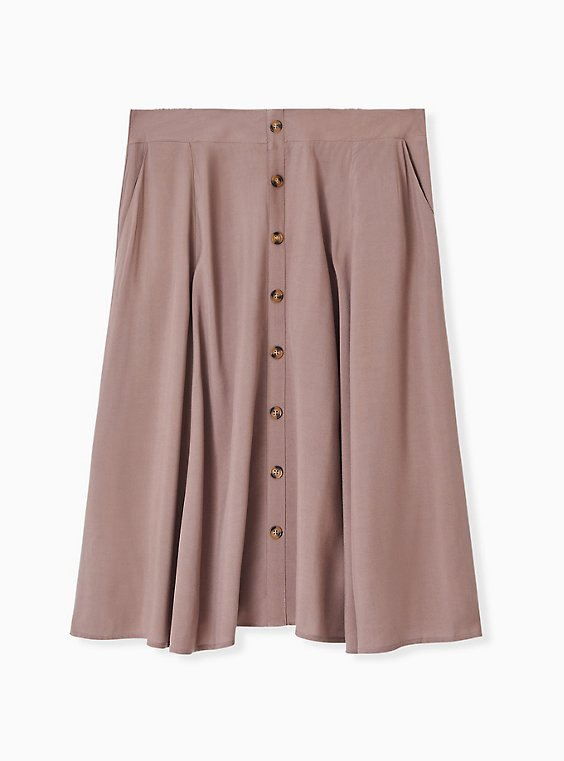 Plus Size Dark Taupe Challis Button Midi Skirt , , hi-res