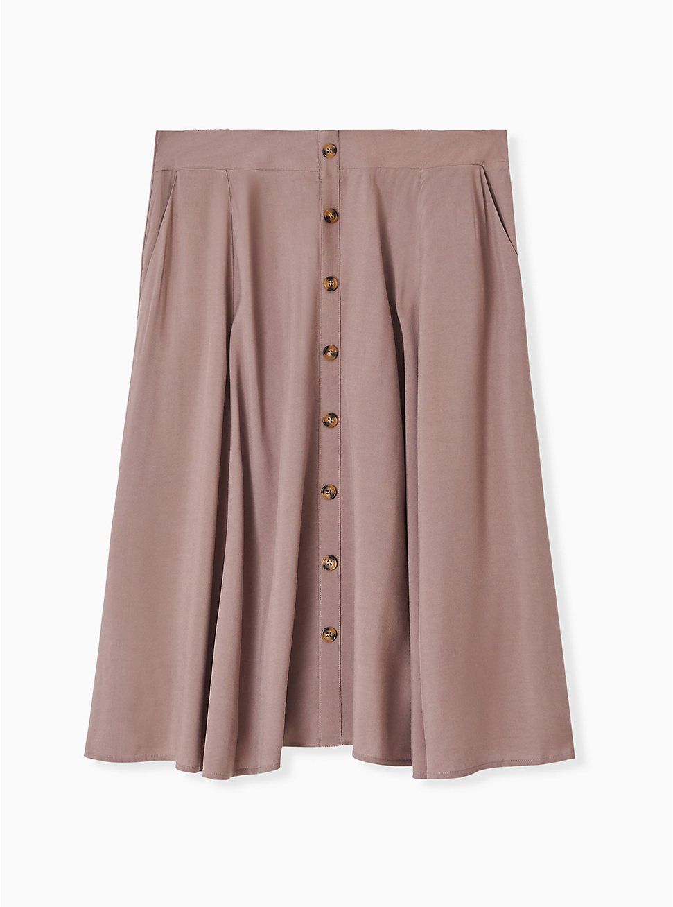 Dark Taupe Challis Button Midi Skirt , DEEP TAUPE, hi-res