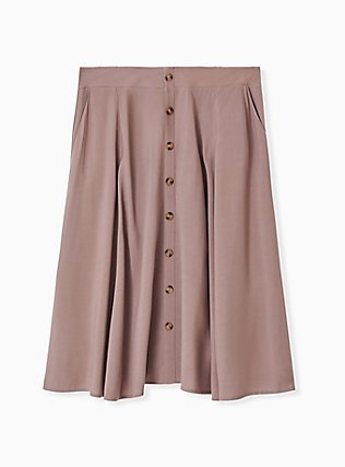 Dark Taupe Challis Button Midi Skirt , DEEP TAUPE, hi-res
