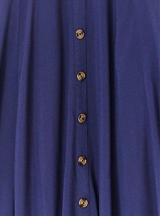Navy Challis Button Midi Skirt , PEACOAT, alternate
