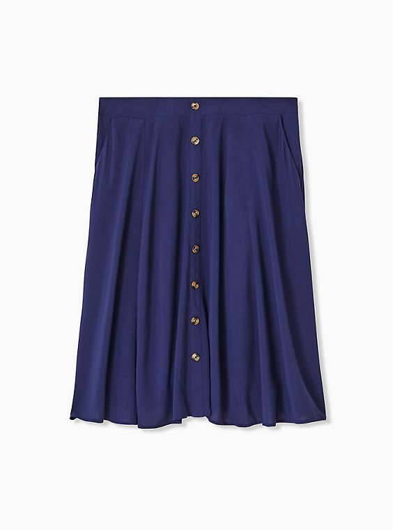 Plus Size Navy Challis Button Midi Skirt , , hi-res