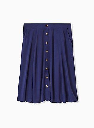 Navy Challis Button Midi Skirt , PEACOAT, hi-res