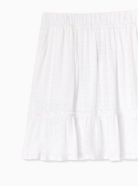 White Gauze Ruffle Mini Skirt , BRIGHT WHITE, alternate