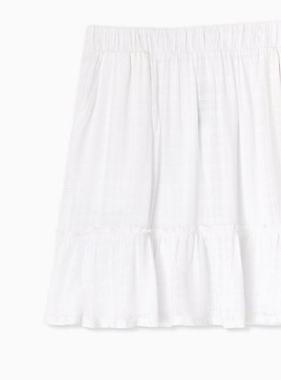 Plus Size White Gauze Ruffle Mini Skirt , BRIGHT WHITE, alternate