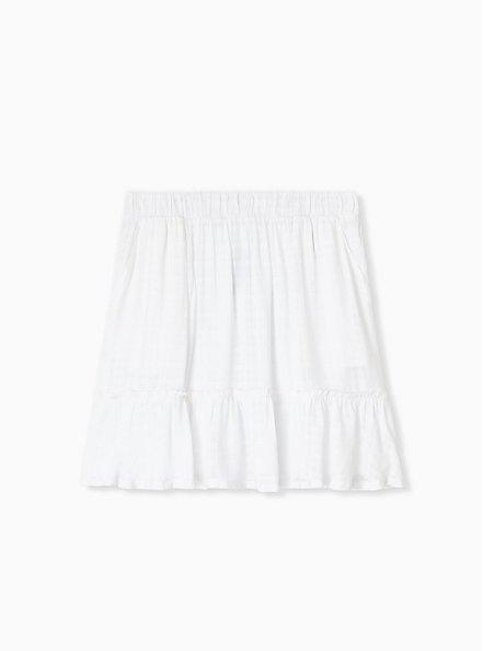 White Gauze Ruffle Mini Skirt , BRIGHT WHITE, hi-res