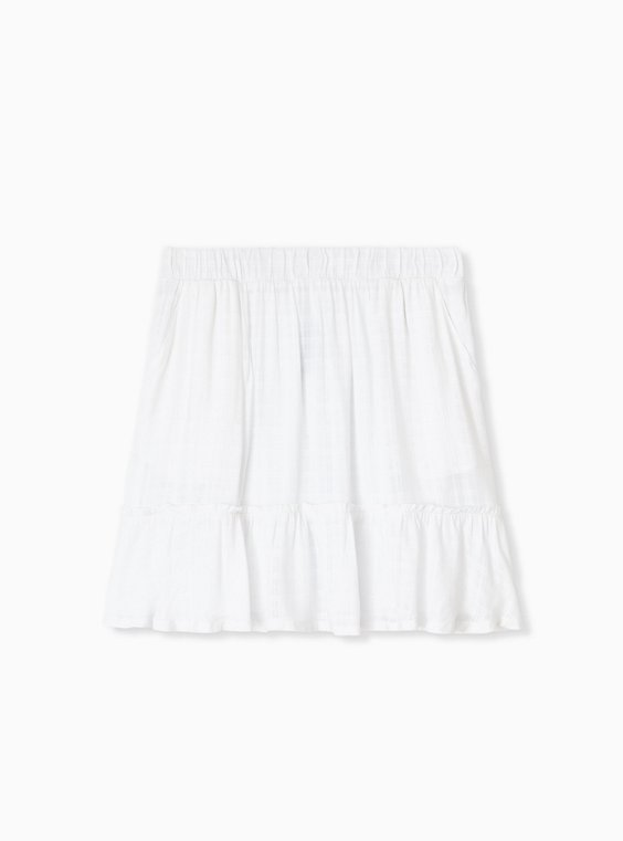 Plus Size White Gauze Ruffle Mini Skirt , , hi-res