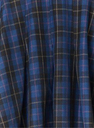 Navy Plaid Twill Mini Skater Skirt , PLAID - BLUE, alternate