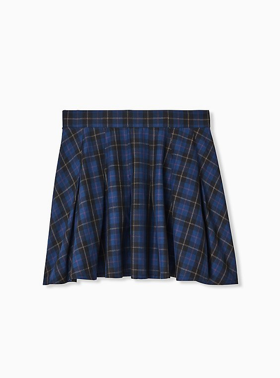 Plus Size Navy Plaid Twill Mini Skater Skirt , , hi-res