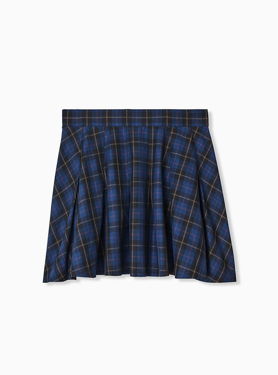 Navy Plaid Twill Mini Skater Skirt , PLAID - BLUE, hi-res