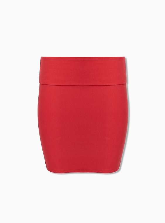 Plus Size Red Jersey Foldover Mini Skirt , , hi-res