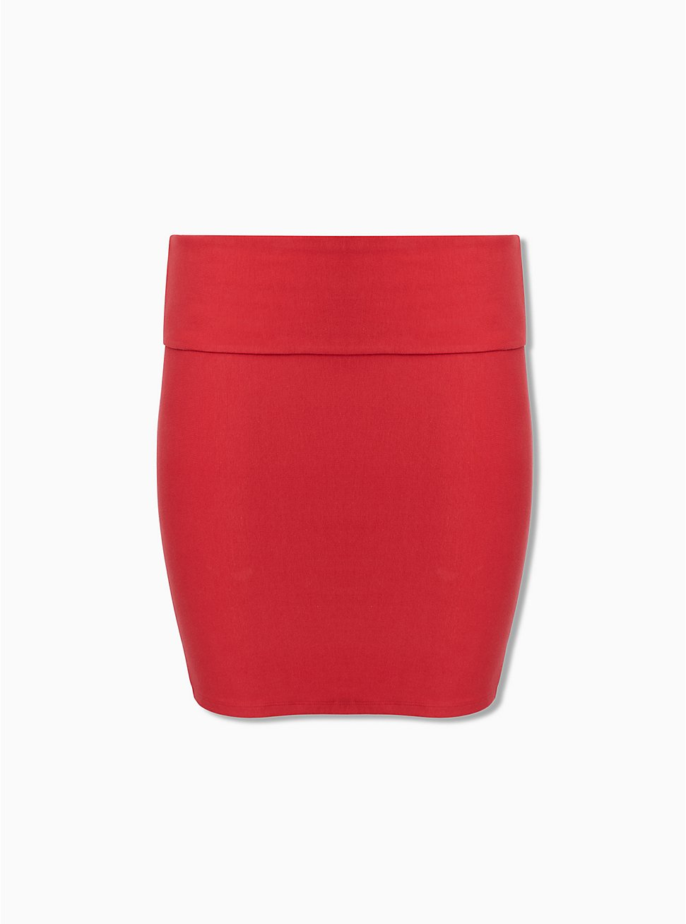 Red Jersey Foldover Mini Skirt , AMERICAN BEAUTY, hi-res
