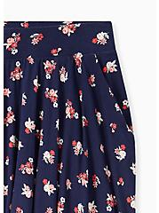 Plus Size Super Soft Navy Ditsy Floral Mini Skater Skirt , FLORALS-NAVY, alternate