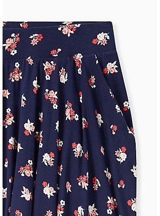 Super Soft Navy Ditsy Floral Mini Skater Skirt , FLORALS-NAVY, alternate