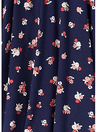 Plus Size Super Soft Navy Ditsy Floral Mini Skater Skirt , FLORALS-NAVY, alternate