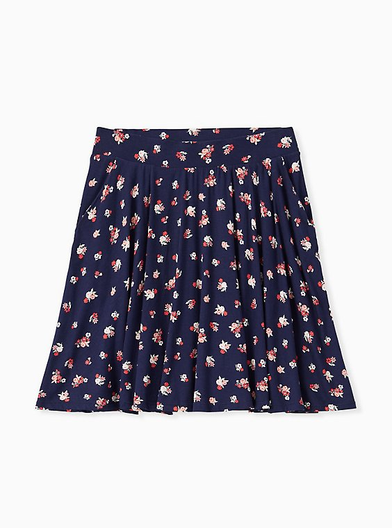 Super Soft Navy Ditsy Floral Mini Skater Skirt , , hi-res