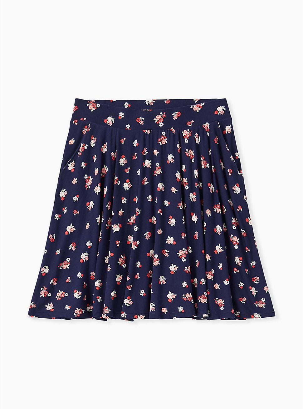 Plus Size Super Soft Navy Ditsy Floral Mini Skater Skirt , FLORALS-NAVY, hi-res
