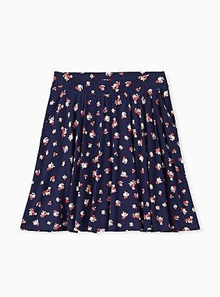 Plus Size Super Soft Navy Ditsy Floral Mini Skater Skirt , FLORALS-NAVY, hi-res