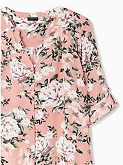 Harper - Coral Floral Challis Button Loop Blouse , FLORAL - TAUPE, alternate