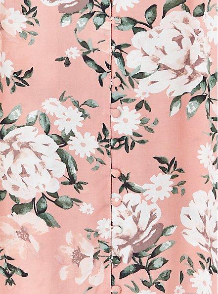 Harper - Coral Floral Challis Button Loop Blouse , FLORAL - TAUPE, alternate