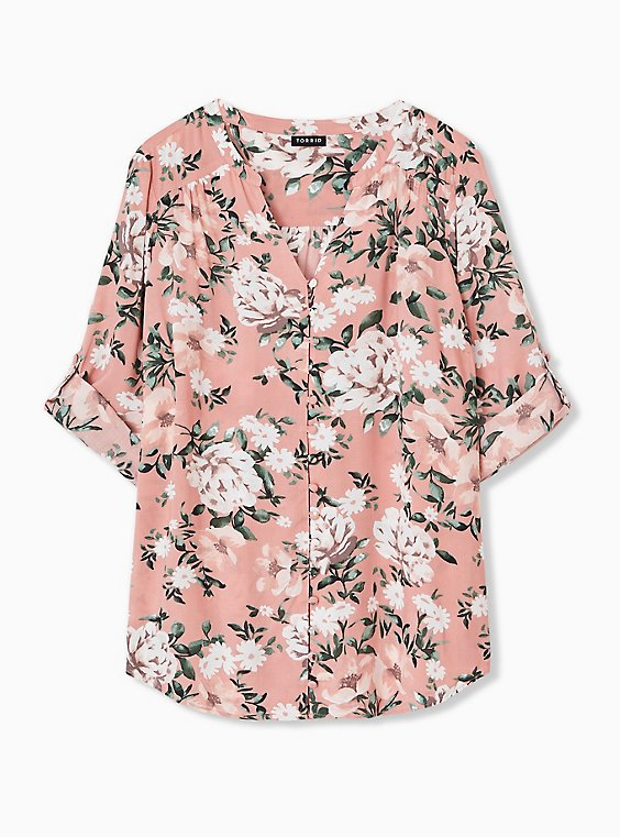 Plus Size Harper - Coral Floral Challis Button Loop Blouse , , hi-res