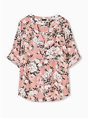 Harper - Coral Floral Challis Button Loop Blouse , FLORAL - TAUPE, hi-res