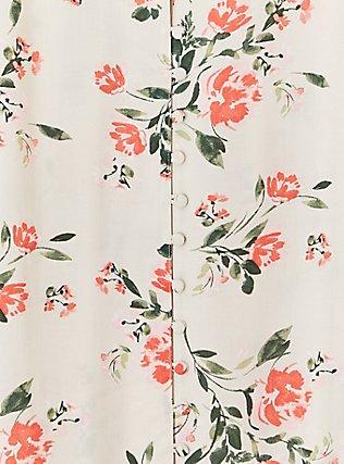 Harper - Tan Floral Challis Button Front Blouse, FLORAL - GREY, alternate
