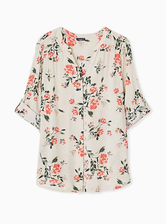 Plus Size Harper - Tan Floral Challis Button Front Blouse, , hi-res
