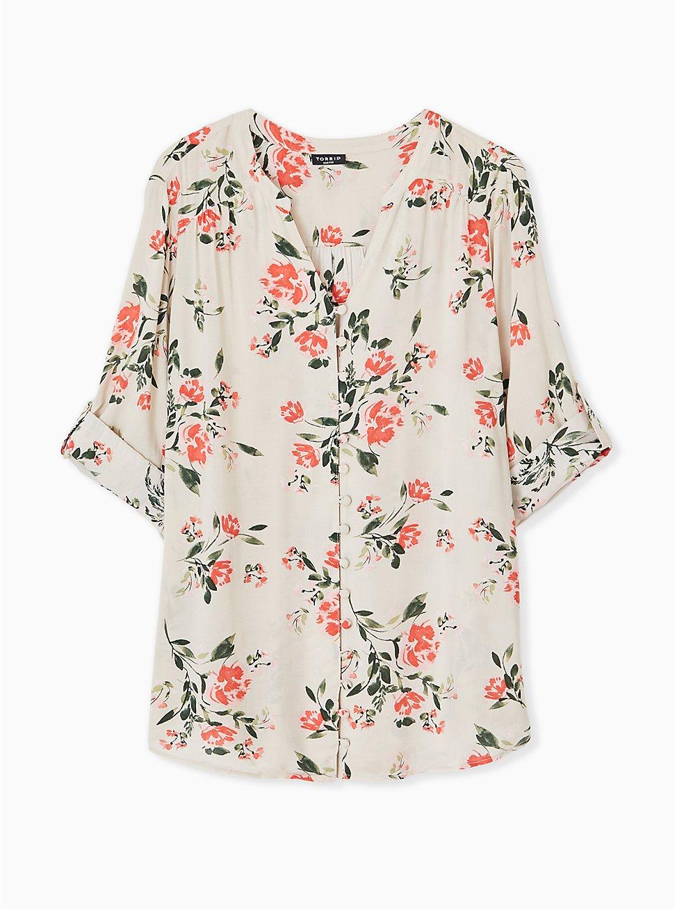 Harper - Tan Floral Challis Button Front Blouse, FLORAL - GREY, hi-res
