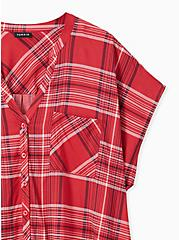 Red Plaid Button Front Dolman Blouse , PLAID - RED, alternate